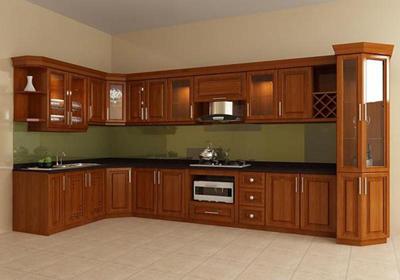 Sản phẩm tủ bếp làm từ gỗ tự nhiên
